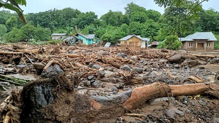 La ville d'Adonara, sur l'île de Florès (Indonésie), le 4 avril 2021 après les inondations. (JOY CHRISTIAN / AFP)