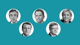 Les 5 candidats du débat du 20 mars 2017 (FRANCEINFO / STEPHANIE BERLU)