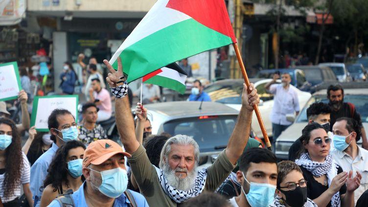 Manifestation de soutien à la Palestine à Beyrouth, le 11 mai 2021. (BILAL JAWICH / XINHUA VIA MAXPPP)