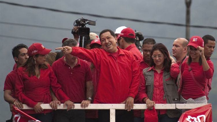 Hugo Chavez en meeting pour les législatives du 26 septembre 2010 (22 septembre) (AFP / Eitan Abramovitch)
