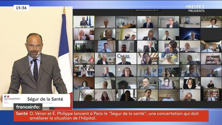 Le Premier ministre, Edouard Philippe, s'exprime en ouverture du Ségur de la santé, au ministère de la Santé, à Paris, le 25 mai 2020. (FRANCEINFO)