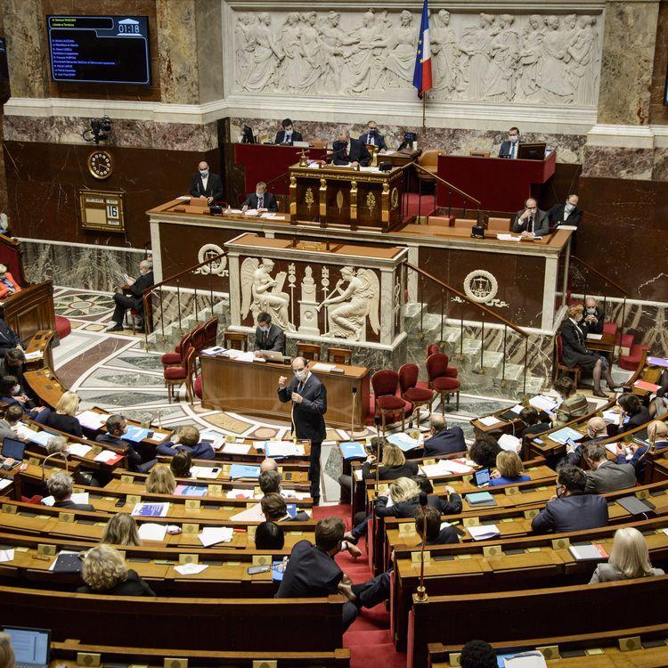 Le Premier ministre, Jean Castex, à l'Assemblée nationale, le 16 mars 2021, à Paris. (JACOPO LANDI / HANS LUCAS / AFP)