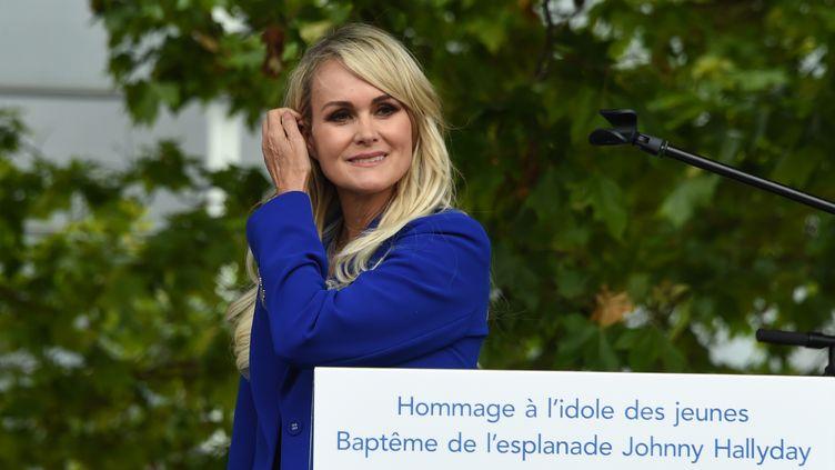 Laeticia Hallyday, à Toulouse (Haute-Garonne), le 15 juin 2019. (ERIC CABANIS / AFP)