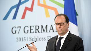 François Hollande lors d'une conférence de presse à l'issue du sommet du G7 au château Elmau, près de Garmisch-Partenkirchen (Allemagne), le 8 juin 2015. (ALAIN JOCARD / AFP)