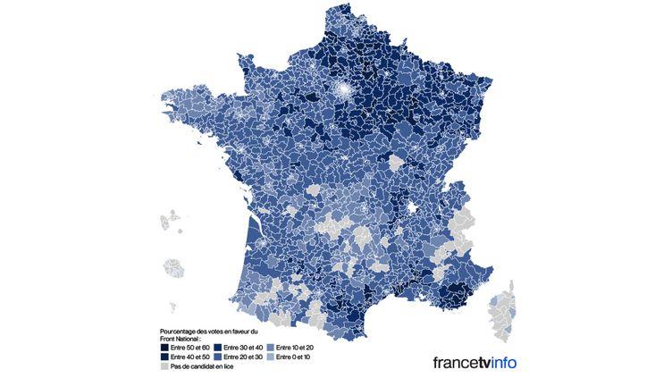 Résultats des binômes investis par le Front National au premier tour des élections départementales 2015, canton par canton. (NICOLAS ENAULT / FRANCETV INFO)