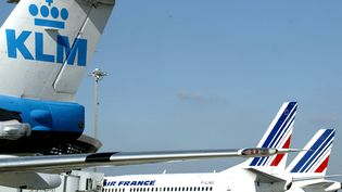 Des avions KLM et Airfrance sur l'aeroport de Lyon-Satolas.Le portefeuillede l'État actionnaire comprendAir France - KLM. (MAXPPP)