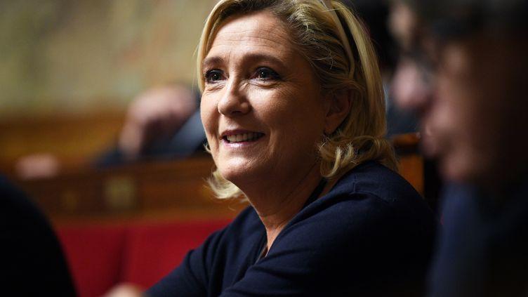 La présidente du Rassemblement national, Marine Le Pen, le 14 novembre 2018 à l'Assemblée nationale. (ERIC FEFERBERG / AFP)