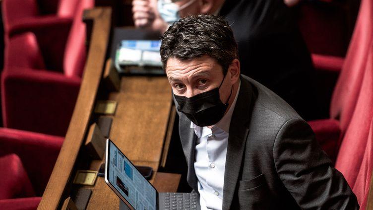 Le député Benjamin Griveaux assiste à une séance de questions au gouvernement, le 9 février 2021, à l'Assemblée nationale, à Paris. (ARTHUR NICHOLAS ORCHARD / HANS LUCAS / AFP)