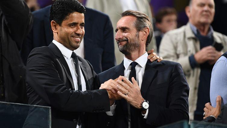 Le président du PSG, Nasser Al-Khelaïfi, et le directeur général du club, Jean-Claude Blanc. (FRANCK FIFE / AFP)