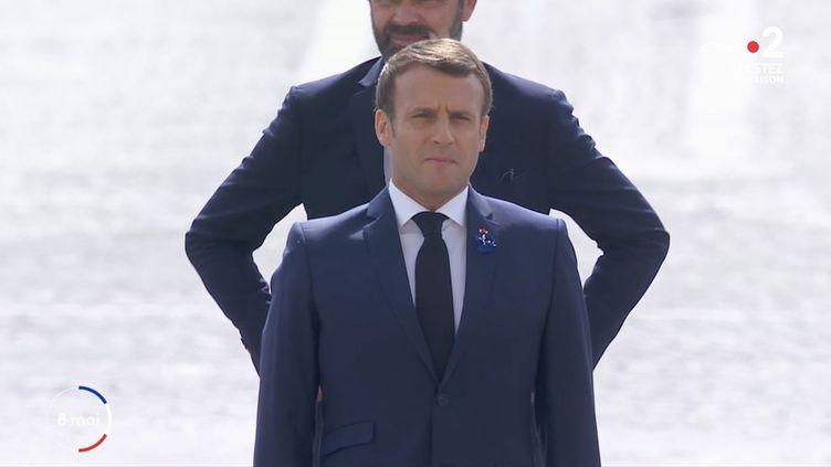 Emmanuel Macron lors des cérémonies du 8-Mai 2020. (FRANCE 2)