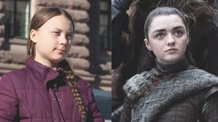 "Greta Thunberg, l'adolescente suédoisedevenue icône de la lutte contre le réchauffement climatique, et Arya Stark, jeune héroïne de la série ""Game of Thrones"". (PER GRUNDITZ / SHUTTERSTOCK / FANDOM)"
