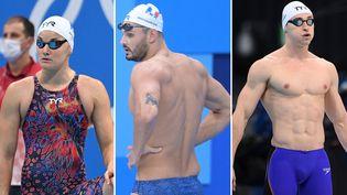 Mélanie Henique, Florent Manaudou et Maxime Grousset (de gauche à droite) peuvent encore remporter une médaille individuelle à Tokyo. (AFP)