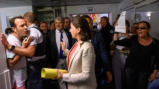 La ministre de la Santé Agnès Buzyn en visite dans l'hôpital Saint-Louis de La Rochelle, le 12 juillet 2019. (XAVIER LEOTY / AFP)