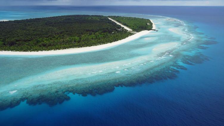 Une vue aérienne de la Grande Glorieuse, l'une des cinq îles de l'archipel des Eparses revendiqué par Madagascar. (SOPHIE LAUTIER / AFP)