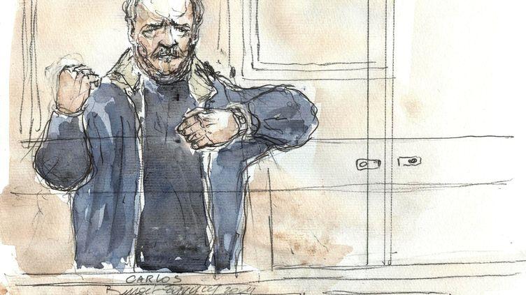 Croquis d'audience du terroriste présumé Carlos, à l'ouverture de son procès devant la Cour d'assises de Paris, lundi 7 novembre 2011. (BENOIT PEYRUCQ / AFP)