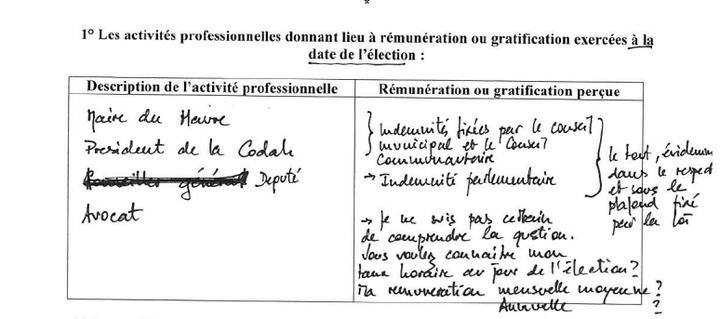 Un extrait de la déclaration d'intérêts du député Edouard Philippe, publiée le 24 juillet 2014. (HAUTE AUTORITE POUR LA TRANSPARENCE DE LA VIE PUBLIQUE)