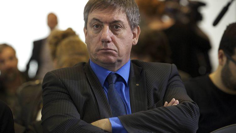 Le nouveau ministre de l'Intérieur belge Jan Jambon, le 8 avril 2014 à Bruxelles (Belgique), lors d'un meeting du N-VA. (NICOLAS MAETERLINCK / BELGA / AFP)