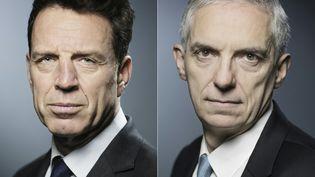 Alexandre Saubot, à gauche et Geoffroy Roux de Bézieux, à droite, candidats à la présidence du Medef. (JOEL SAGET / AFP)