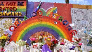 Des fleurs et des bougies devant la discothèque d'Orlando (Etats-Unis), le 8 janvier 2017. (CITIZENSIDE/JULIAN LEEK / CITIZENSIDE)