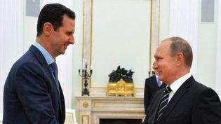 Vladimir Poutine a reçu Bachar al-Assad le mardi 20 octobre 2015 à Moscou (Russie). (ALEXEY DRUZHININ / RIA NOVOSTI / AFP)
