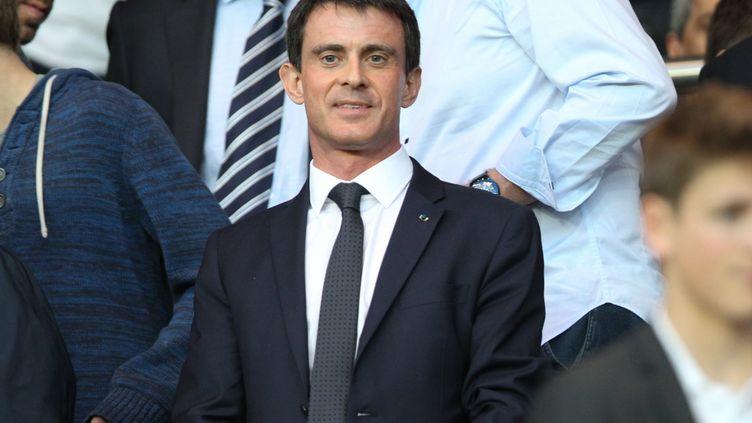 Manuel Valls lors du quart de finale de la ligue des Champions aller entre le PSG et Barcelone au Parc des princes, à Paris, le 15 avril 2015. (MAXPPP)