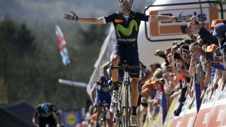 Alejandro Valverde, vainqueur de la Flèche wallonne en 2016. (KENZO TRIBOUILLARD / AFP)