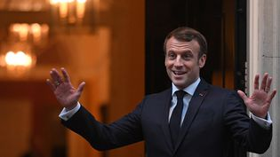 Le président de la République Emmanuel Macron à Londres, mardi 3 décembre 2019, en marge du sommet de l'OTAN. (DANIEL LEAL-OLIVAS / AFP / POOL)