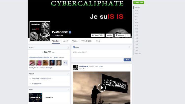 La page Facebook de TV5 Monde, piratée par des individus se réclamant de l'organisation Etat islamique,mercredi 8 avril 2015. (TV5 MONDE / FACEBOOK)