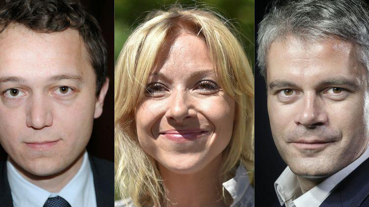 Mael de Calan, Florence Portelli et Laurent Wauquiez; de gauche à droite,candidats à la présidence des Républicains. (FRED TANNEAU / AFP)