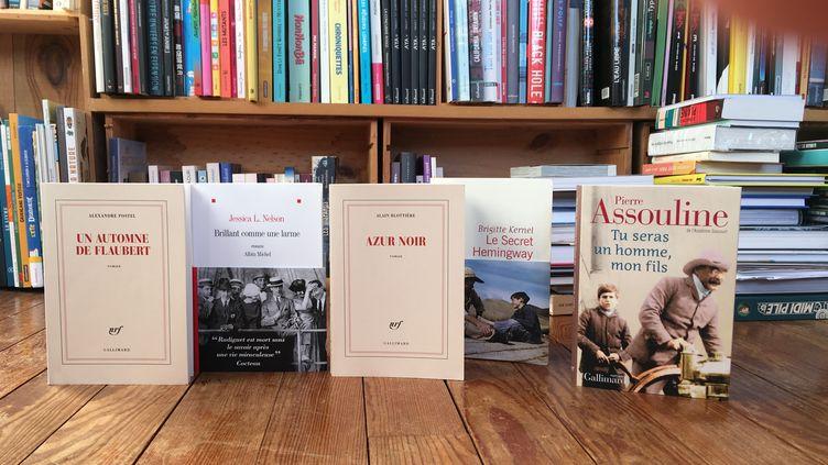 Couvertures des cinq romans de la rentrée d'hiver sur des écrivains célèbre (2020) (FRANCEINFO)