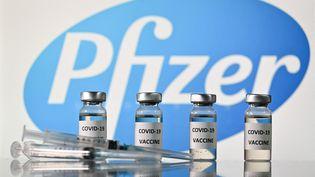Des flacons du vaccin Pfizer, le 17 novembre 2020. (JUSTIN TALLIS / AFP)