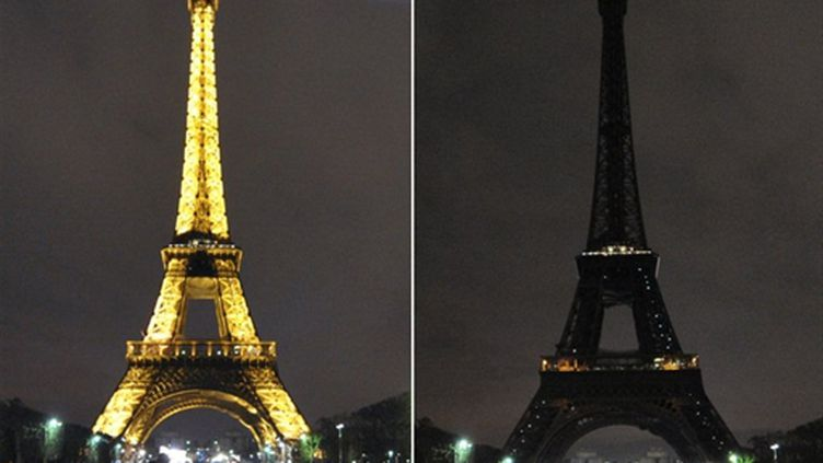 """""""Earth Hour, 60 minutes pour la planète"""" en France aussi (LANGLOIS AFP PHOTO BERTRAND)"""