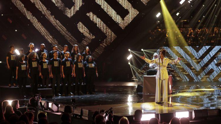 Camélia Jordana lors des34e Victoires de la musique, le 8 février 2019.  (THOMAS SAMSON / AFP)