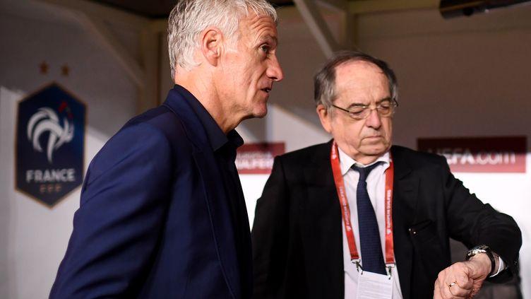 Didier Deschamps et Noël Le Graët au Konya Stadium (Turquie), le 8 juin 2019. (FRANCK FIFE / AFP)
