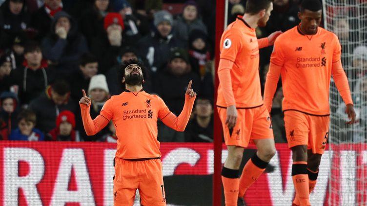 Mohamed Salah encore buteur avec Liverpool (ADRIAN DENNIS / AFP)