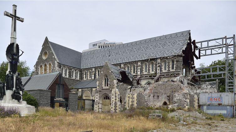 La cathédrale de Christchurch, en Nouvelle-Zélande, va être restaurée. Le clocher s'était écroulé lors du séisme de 2011  (Marty Melville / AFP)
