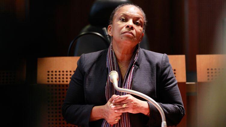 Christiane Taubira, la ministre de la Justice, le 19 décembre 2013, à Ajaccio, en Corse-du-Sud. (PASCAL POCHARD CASABIANCA / AFP)