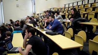 Des étudiants assistent à un cours dansun amphithéâtre de l'Université Paris-Sud, à Orsay (France), le 24 mars 2017. (BENOIT TESSIER / REUTERS)