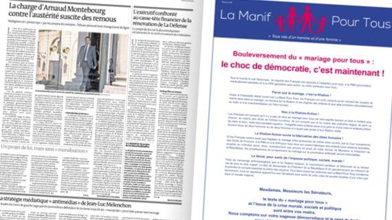 """Une double page du """"Monde"""" daté du 11 avril 2013. (LE MONDE / FRANCETV INFO)"""