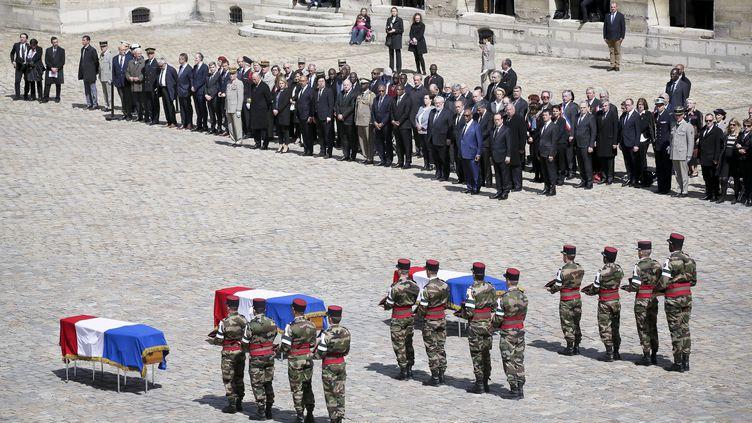 Hommageà trois militaires tués au Mali,Mickaël Poo-Sing, Damien Noblet etMickaël Chauvin, aux Invalides, le 20 avril 2016. (MAXPPP)