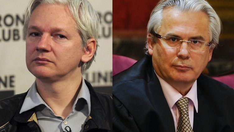 Julian Assange (à g.), fondateur de WikiLeaks, sera défendu par le juge espagnol Baltasar Garzón. (CARL COURT / AFP)