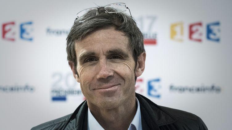Le journaliste David Pujadas au siège de France Télévisions, le 31 mars 2017 à Paris. (PHILIPPE LOPEZ / AFP)