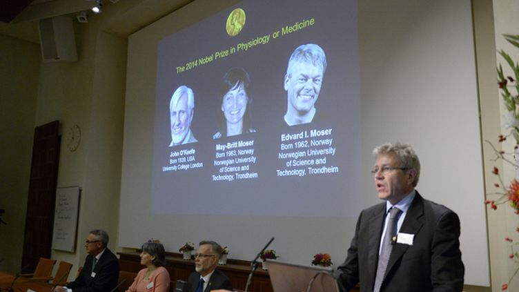 (Lors de la présentation des lauréats du Nobel de médecine, aujourd'hui © REUTERS/Bertil Ericson/TT News Agency)