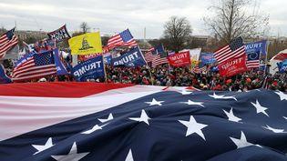 """Des supporters de Donald Trump marchent vers le Congrès des Etats-Unis à Washington, le 6 janvier. Parmi les drapeaux, le """"Gadsgen Flag"""". (TASOS KATOPODIS / GETTY IMAGES NORTH AMERICA VIA AFP)"""