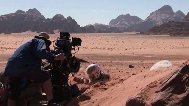 Matt Damon lors du tournage de Seul sur Mars en 2014.  (France 3 / Culturebox)