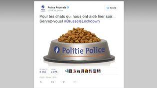 Capture d'écran du tweet de la police fédérale belge remerciant les internautes, le 23 novembre 2015. (POLICE FEDERALE BELGE)