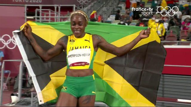 SENSATIONNEL !! La fusée jamaïcaine Thompson-Herah a dévoré la piste aux étoiles pour décrocher l'or et le record olympique en 10.61. Elle devient la deuxième femme la plus rapide de l'Histoire et est accompagnée par ses compatriotes Fraser-Pryce (10.74) et Jackson (10.76).