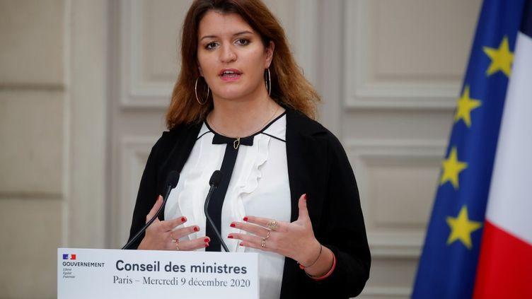 La ministre déléguée auprès du ministre de l'Intérieur, Marlène Schiappa, le 9 décembre 2020 à Paris. (CHARLES PLATIAU / AFP)