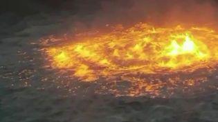 """Explosion d'un pipeline : un """"oeil de feu"""" surgit dans le golfe du Mexique (France 2)"""