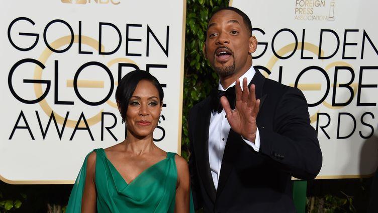 Jada Pinkett Smith et Will Smith lors de la 73e cérémonie des Golden Globes, le 10 janvier 2016 à Beverly Hills, en Californie (Etats-Unis). (VALERIE MACON / AFP)